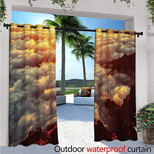 BlountDecor Clouds Fashions Drape W84 x L84 Sunset on The Hill Tops Above The Clouds Unusual Extreme Morning Glory Print Outdoor Curtain Waterproof Rustproof Grommet Drape Orange White Brown