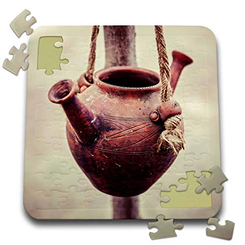 3dRose Alexis Photography - Objects Kitchenware - A Ceramic jar with Two noses Hangs on a Rope. Vintage Water Vessel - 10x10 Inch Puzzle (pzl_308106_2)