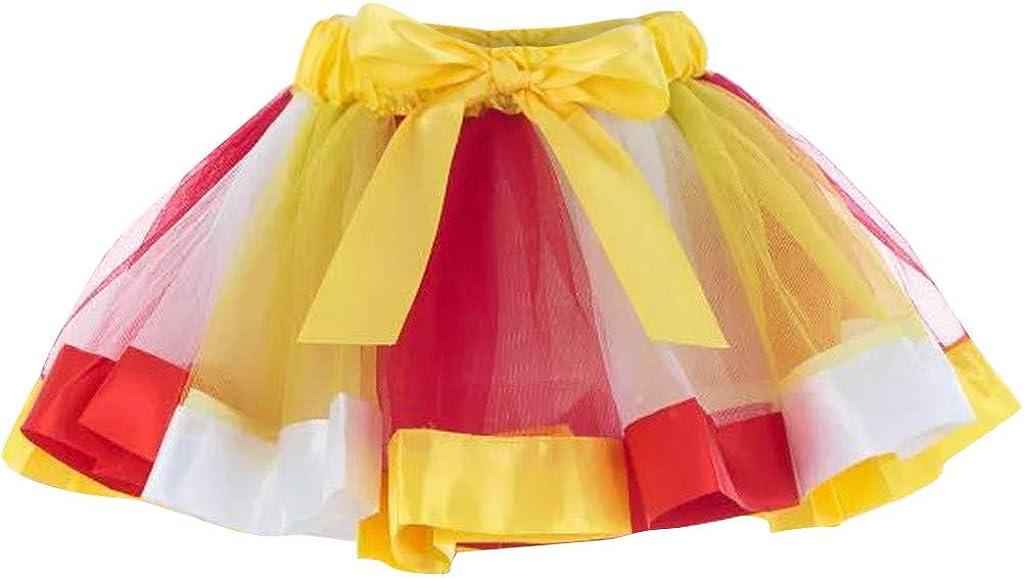 ALISIAM Falda Corta elástica Multicolor de 3 Capas para Mujer ...