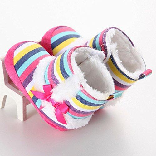 Clode® Kleinkind Baby Mädchen Warm Halten Multicolor -Streifen Schneestiefel Weiche Sohlen Krippe Schuhe Kleinkind-Stiefel Winterstiefel