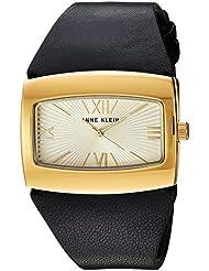 Anne Klein Womens AK/2632CHBK Gold-Tone and Black Leather Strap Watch