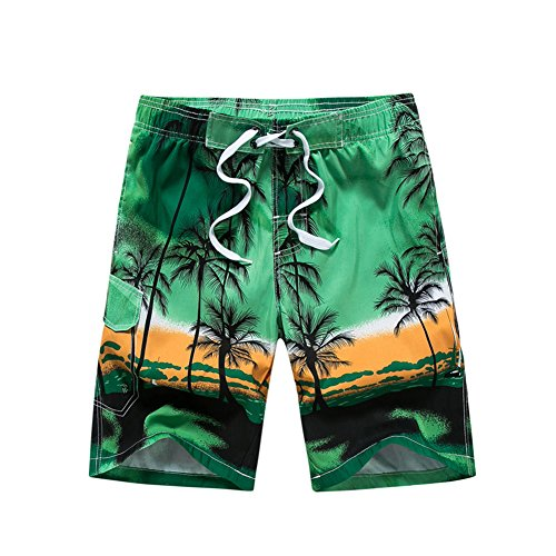 Hawaiian Print Swim Trunks (Gymleader Men's Beach Surfing Boardshorts Swimming Trunks Hawaiian Shorts-GN-L)