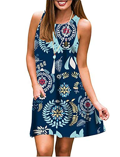 (Luranee Hawaiian Dress, Vacation Tea Party Clothes Casual Sleeveless Knee Length Holiday Travelling Tank Outfits Awesome Pretty Decent Fabulous Durable Summer T Shirt Dress XXL Dark Blue)