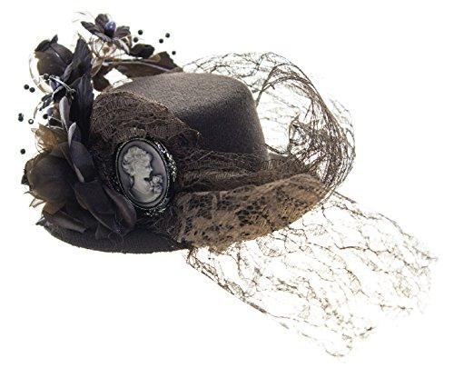 Linda Ann's Vintage Brown, Cameo, Lace Mini Hat Fascinator 4