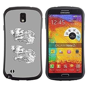 Suave TPU GEL Carcasa Funda Silicona Blando Estuche Caso de protección (para) Samsung Note 3 / CECELL Phone case / / Grey Wolf Cartoon White Character /