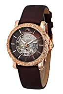Porsamo Bleu Liza Satin Covered Genuine Leather Women's Topaz Skeleton Watch 692CLIL