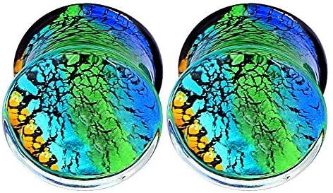 Alphapierce Ocean Glass Ear Gauges Double Flared Ear Plugs Tunnels Expander 6 Style Size 0g-5//8