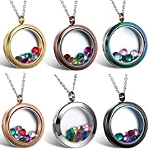 JewelryWe Living Memory Floating Charm Round Glass Locket Pendant Necklace Stainless Steel, Magnetic Closure - Locket, Charms & Necklace Included