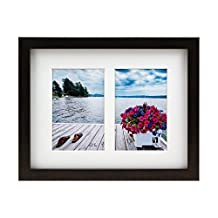 BorderTrends Echo 8.5x11-Inch Double Opening Collage Photo Frame, Espresso Brown with White Mat