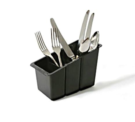 Delfinware – Cubertería de plástico cesta, negro
