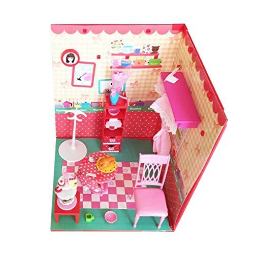 NATFUR 1/6 DIY Dollhouse Kits with Furniture - Pink Princess Restaurant Kids Gift (Best Homemade Solar Oven)