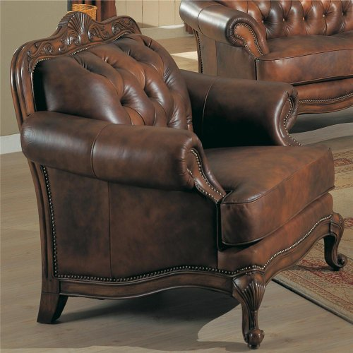 Chair Button Tufted Tri Tone Leather