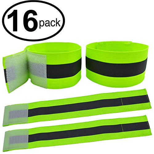 High Visibility Reflective Night Running Walking Elastic Strap Wristbands Ankle Bands Armbands Safety for Cycling Walking Running Camping Outdoor Sports-Fits Women, Men & Kids (16 Bands/8 Pairs)