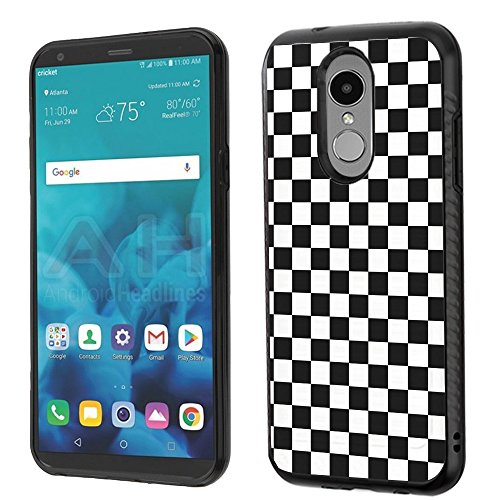 Checkers Protector Case (Hybrid Case for LG Stylo 4, One Tough Shield Dual Layer ShockProof Protector Phone Case with Brushed Texture - Checker B/W)