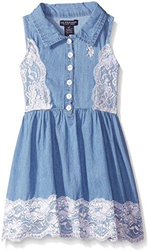 U.S. Polo Assn.. Little Girls Denim and Lace Sundress, Light Wash, 5