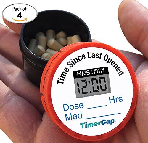 TimerCap Smart Pill Bottle Cap & Medication Reminder | Automatically Records Built-in Stopwatch | Medicine Organizer (Mail-Order, Travel - EZ-Twist)