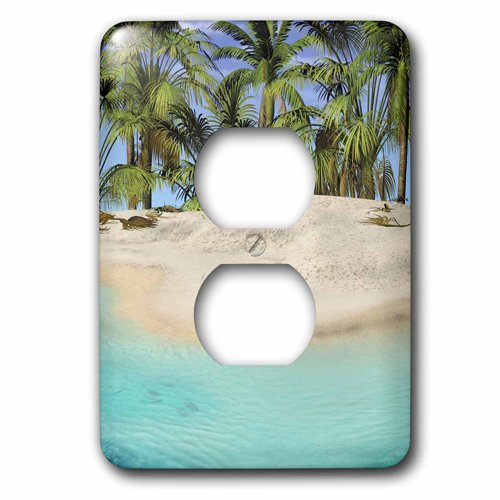 3dRose lsp/_213834/_6 The Edge Of the Beach With Palm Trees 2 Plug Outlet Cover 3D Rose Home Improvement