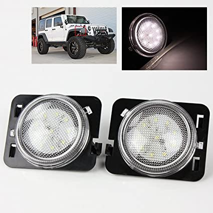 Clear LED Side Marker Lights for Jeep JK 07-15 - Hi-Power 5W COB SMD Amber color TurboMetal