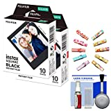 Fujifilm Instax WW1 Square Black Frame Instant Film (10 Color Prints) with Wood Pegs + Kit for SQ6 & SQ10 Cameras