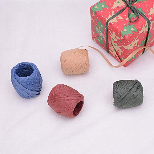Ankuka 4 Rolls Red Green Kraft Blue Raffia Ribbon/String, Packing Paper Twine for Christmas, DIY Decoration, Birthday, Party Gift Box Wrapping, 66ft Per Roll