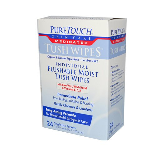 Puretouch Individual Flushable Moist Tush Wipes, 24 Count
