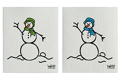 Wet-It Swedish Treasures Dishcloths Set of 2 (Blue & Green Snowman) (Holiday Washcloth)