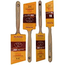 4 Piece Angle Sash House Paint Brush Set.Used By Professional Painters and Home Owners. Wall Paint Brushes, for Decks,Fences,Trim,Interior and Exterior. Commercial or Residential Paint Brush Set.