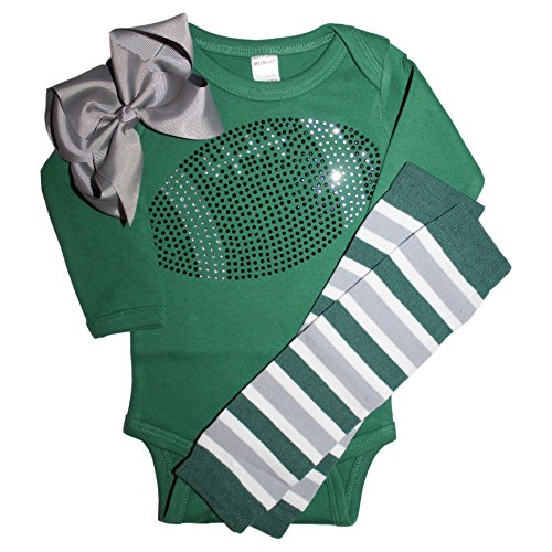 FanGarb Baby Girls Black Rhinestone Football Long Sleeve Outfit with Leg wamers & Bow (0-3 mo, Green)