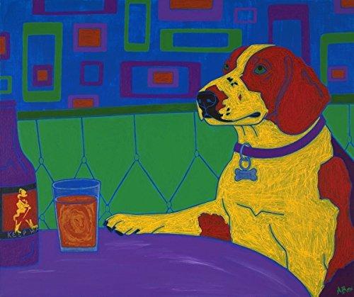 Social Drinker - Retro Beagle Art MATTED Print by Angela Bond