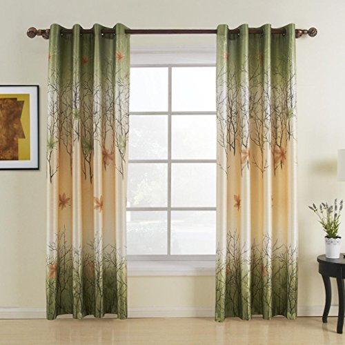FirstHomer Room Darkening Maple Leaf Polyester Print Thermal Insulated Blackout Lined Grommet Curtain/Drapes for Bedroom,84W By 84L,One (Murmaid Costume)