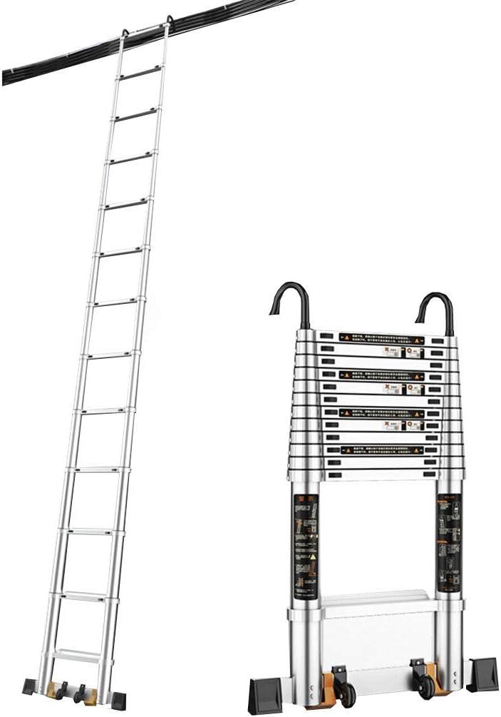 Escaleras plegables aluminio Escalera De Extensión Portátil, Escalera De Extensión For Ático De Usos Múltiples, Con Gancho (multifunción, Retráctil, Aleación De Aluminio, Certificación EN131, Resisten: Amazon.es: Hogar