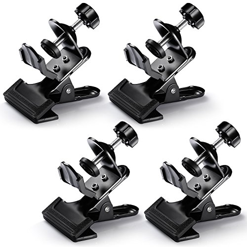Neewer® 4 Pack Multi-Functional Black Clamp Clip Holder with U-Clamp for Photography Studio Shooting Light Stand Tripod Boom Arm, Background Support by Neewer