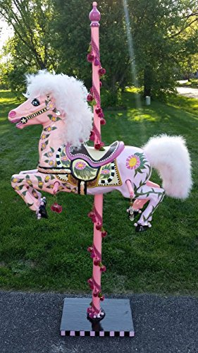 Beautiful Hand Painted Pink Carousel Horse With Stand and Pole