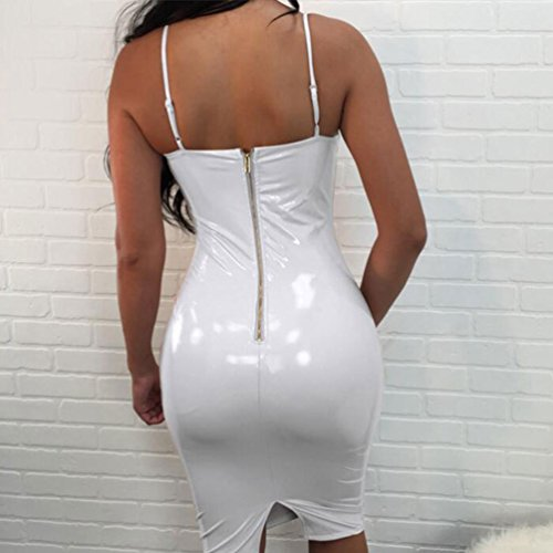 Tookang Longue Regard Cuir en Artificiel Blanc Bodycon Mi Humide Moulante Fte Robe Femme Wear Robe Club pour HrHwFqf