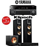 Yamaha AVENTAGE RX-A2070BL 9.2-Channel 4K Network A/V Receiver + Klipsch RP-280F + Klipsch RP-450C + Klipsch R-115SW - 3.1-Ch Home Theater Package (Piano Black)