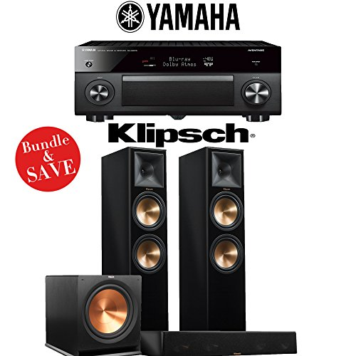 Yamaha AVENTAGE RX-A2070BL 9.2-Channel 4K Network A/V Receiver + Klipsch RP-280F + Klipsch RP-450C + Klipsch R-115SW - 3.1-Ch Home Theater Package (Piano Black) by Klipsch