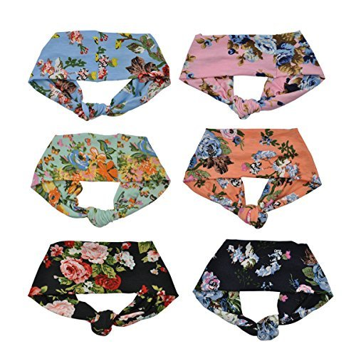Lady Up Headbands Floral Style Criss Cross Head Wrap Flower Vintage Boho Spring Fashion Yoga Bands - 6 pcs