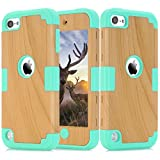 iPod Touch 5 Case, iPod Touch 6 Case, Easytop 3 in 1 High Impact Combo Luxury Cool Wood Textured and Soft Silicon Case Rugged Hybrid Shock-Absorption Anti-Scratch Protective Cover Cases (Green)