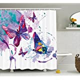 Ambesonne Butterflies Shower Curtain, Watercolor Print of Butterfly Symbol of The Soul Power Art Modern Home Decor, Polyester Fabric Bathroom Shower Curtain, 84 Inches Extra Long, Multi
