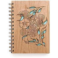 Tidepools Laser Cut Wood Journal (Notebook/Birthday Gift/Gratitude Journal/Handmade/Christmas Gift)