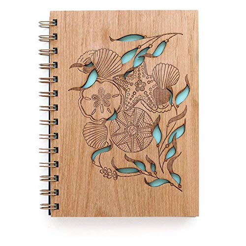 Tidepools Laser Cut Wood Journal (Notebook/Birthday Gift/Gratitude Journal/Handmade)