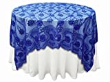 Tableclothsfactory 72'' x 72'' The Fashionista Style Table Table Overlay - Royal Blue Lace Netting (Table Toppers)
