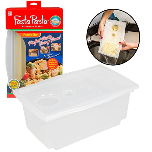 Pasta Boat - Microwave Pasta Cooker- The Original Fasta Pasta Family Size- Cooks up to 8 Servings of Pasta- No Mess, Sticking, or Waiting for Water to Boil