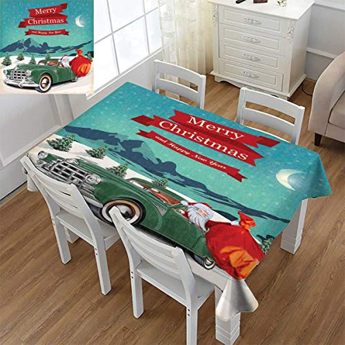 (Angoueleven Christmas,Printed Tablecloth,Santa Claus in a Classic Car with Bag of Toys Snow Winter Starry Night New Year,Flannel Tablecloth,Teal Red,Size:60