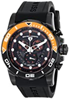 Avalanche Chronograph Black Silicone Strap & Dial Orange Accents from Swiss Legend