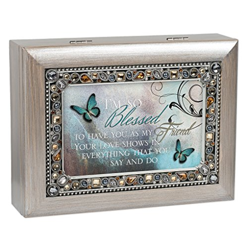 Blessed to Have You as Friend Brushed Pewter Finish Jeweled Jewelry Music Box Plays Wonderful World ()