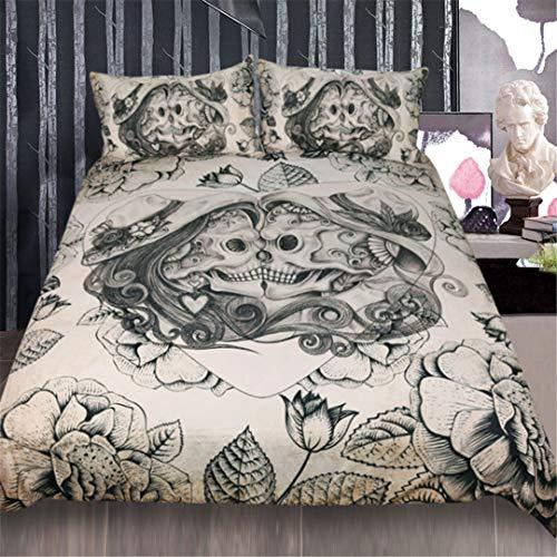 Skull Bedding Set Boy Gothic Duvet Cover 3Pcs Couples Vintage Bedclothes Bed Set 002 USA Queen -