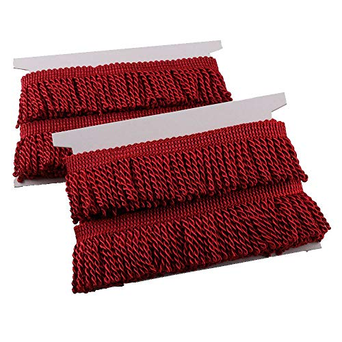 HEARTWISH Curtain Fringes Bullion Fringe Trim 2.5Inch Wide 5 Yards Long,Fabric Trims and Embellishments Curtain Weights Fringes for Sewing DIY Decoration Black Gold White (Dark red)