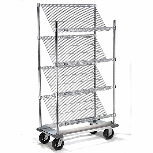 Chrome Slant Wire Shelving Truck, 4 Shelves With Dolly Base, 48