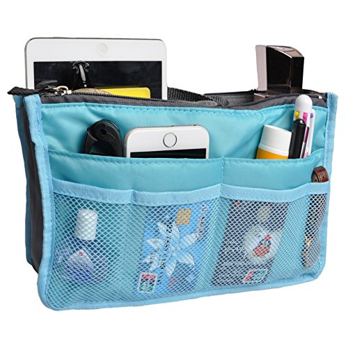 Travel Organizer Bag Multi-pocket Insert Handbag Purse Tidy Bags For Multipurpose Blue Handbag Organizer Insert